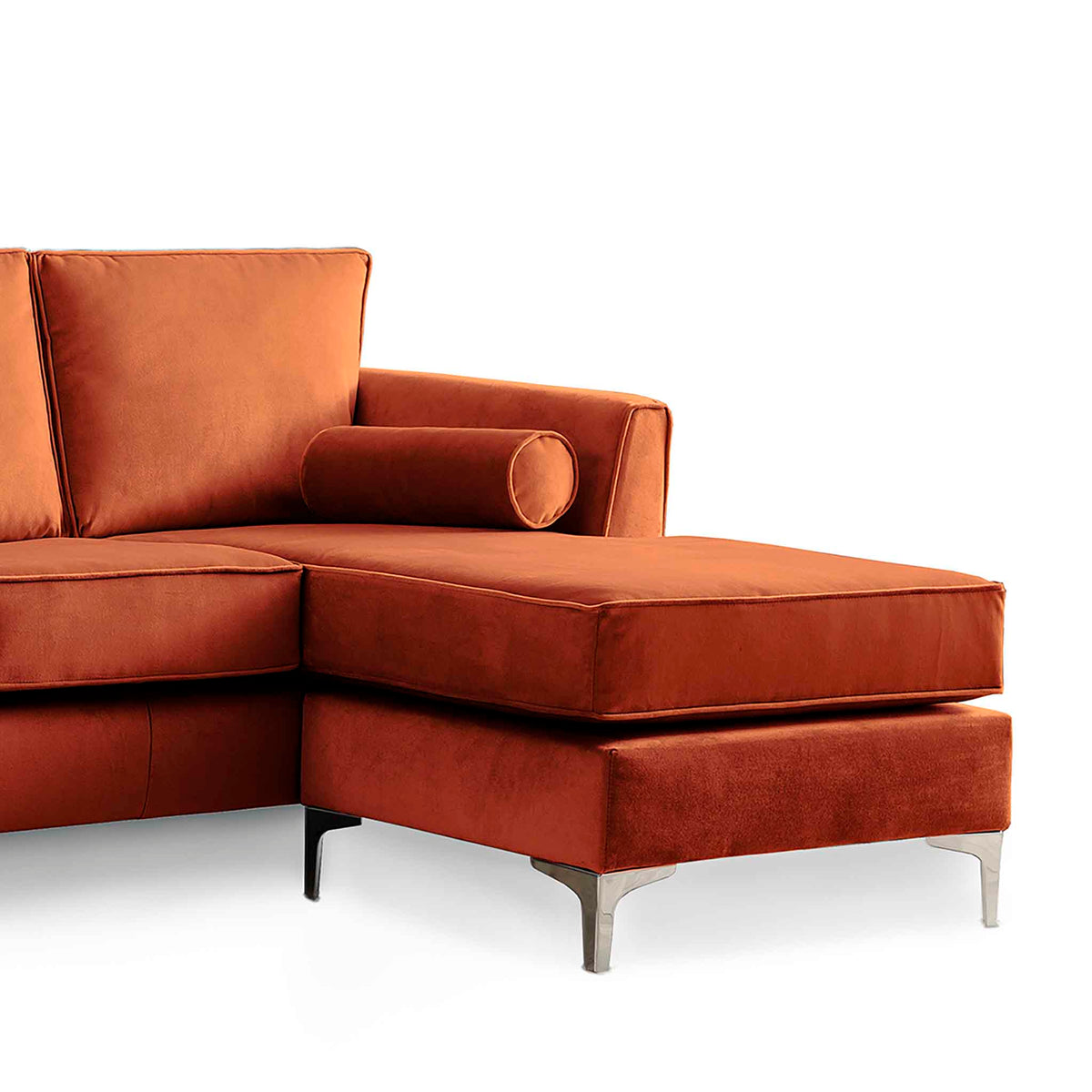 Ikon Reversible Apricot Chaise Corner Sofa - Close up of chaise section