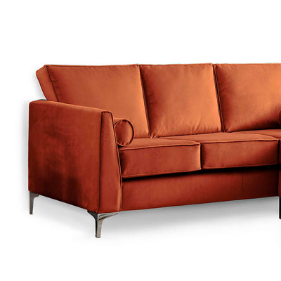 Ikon Reversible Apricot Chaise Corner Sofa - Close up of arm rest