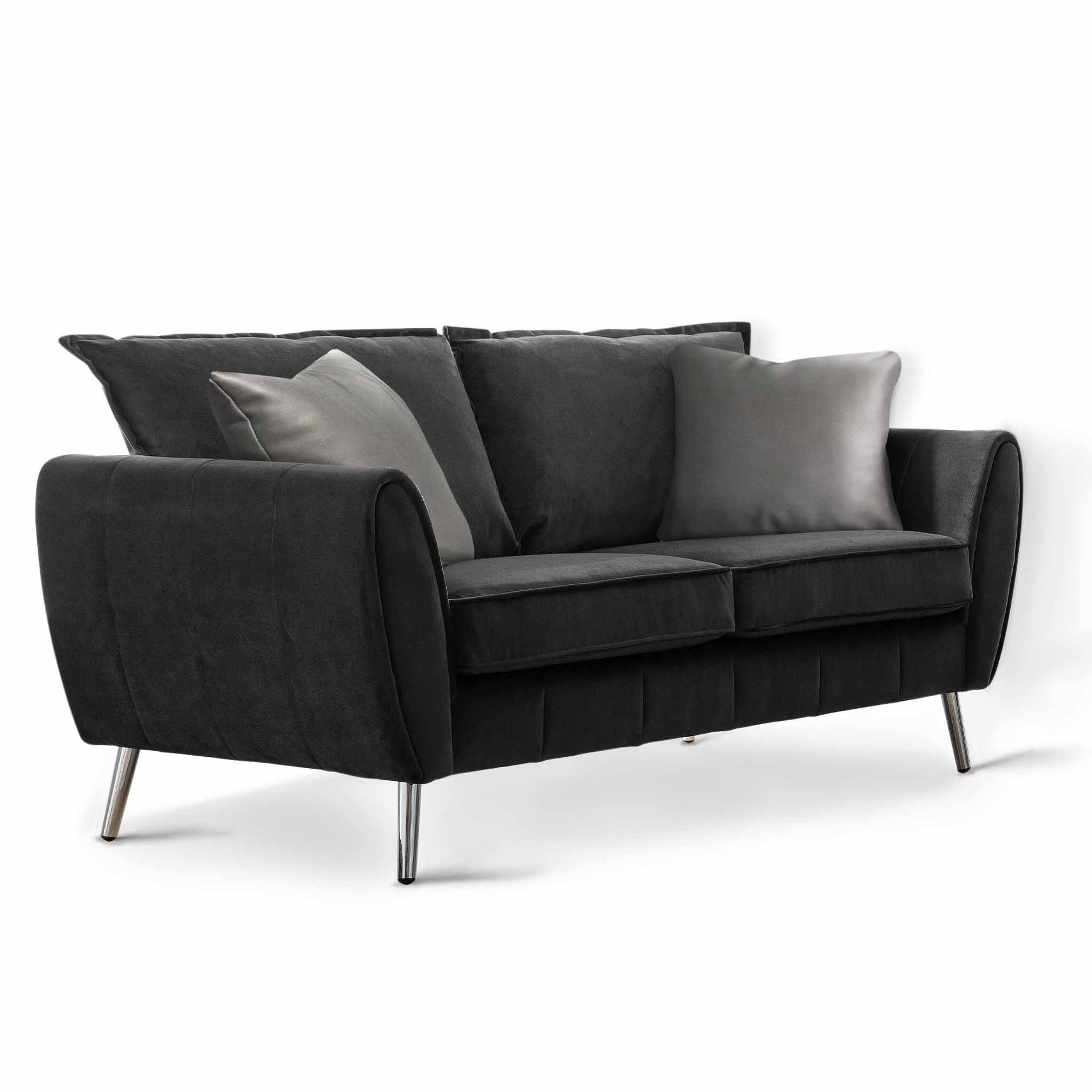 Milano Jet Black 2 Seater Sofa by Roseland Furniture
