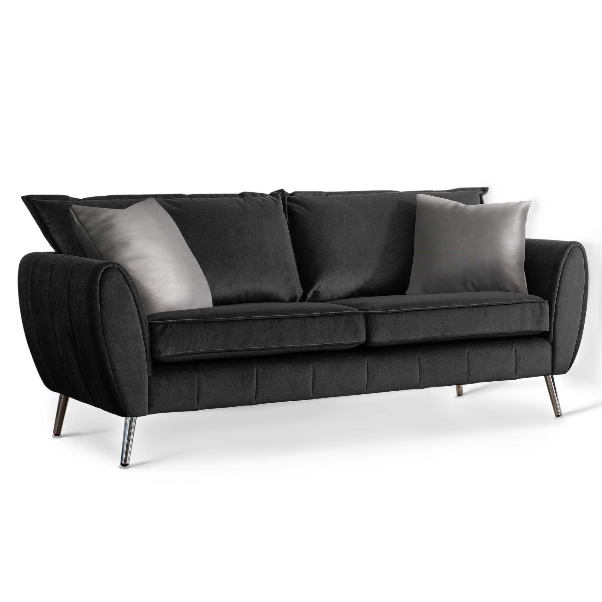 Milano Jet Black 3 Seater Sofa by Roseland Furniture