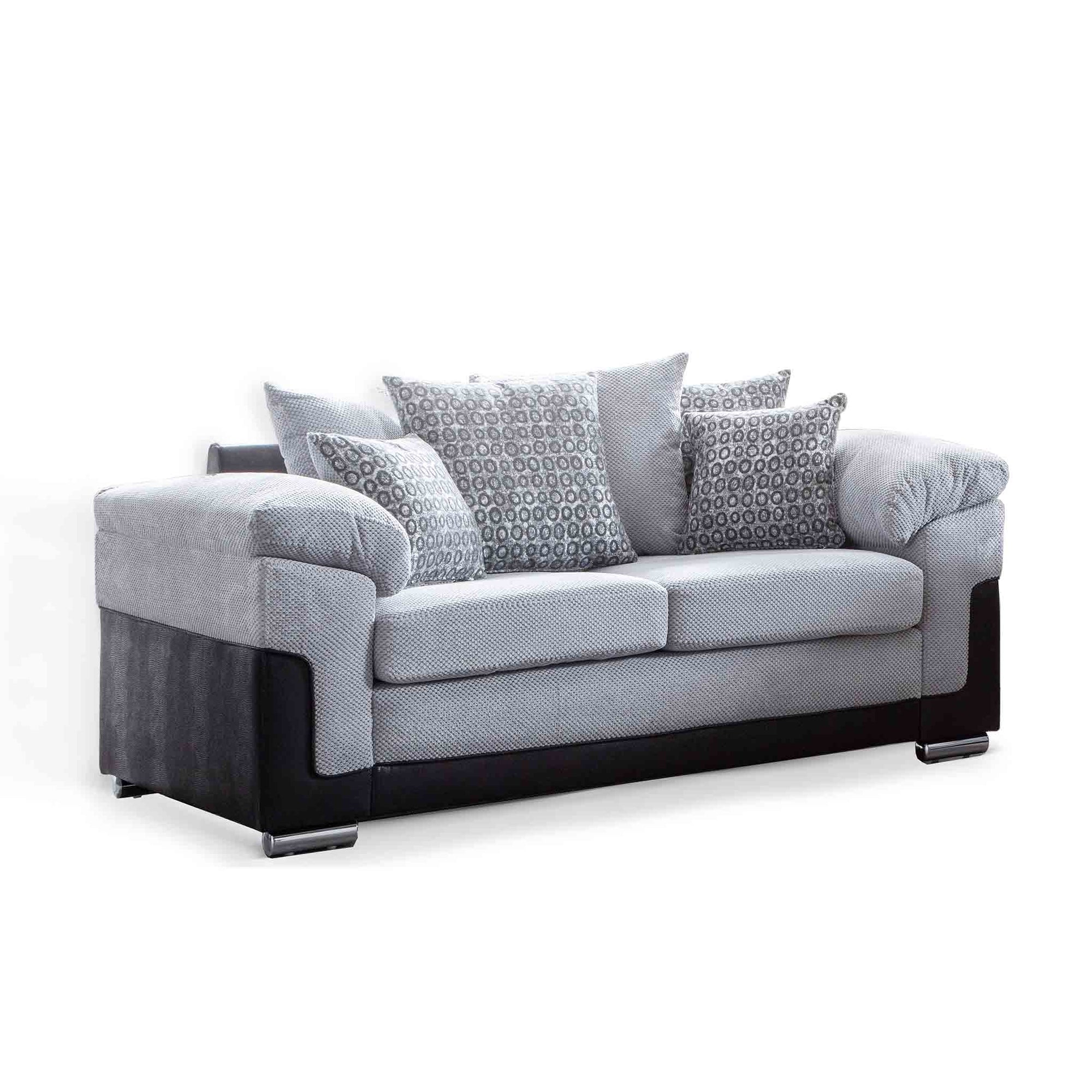 Ameba Silver 2 Seater Fabric & Faux Leather Sofa from Roseland Furniture