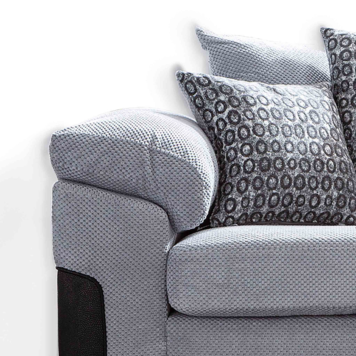 close up of plump cushioned arms on the Ameba Silver 3 Seater Fabric & Faux Leather Sofa