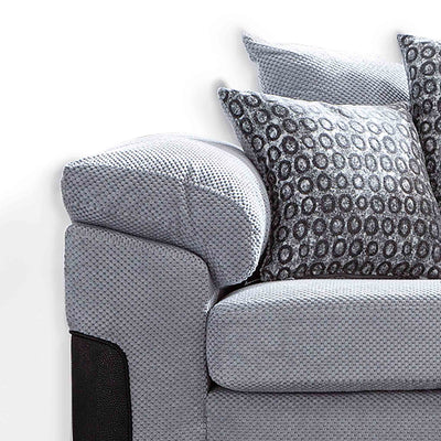 close up of the plump cushioned armrests on the Ameba Silver Fabric & Faux Leather Corner Chaise Sofa