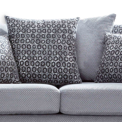 close up of pillows on the Ameba Silver 3 Seater Fabric & Faux Leather Sofa
