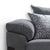 close up of the plump armrest cushions on the Ameba Charcoal 3 Seater Fabric & Faux Leather Sofa