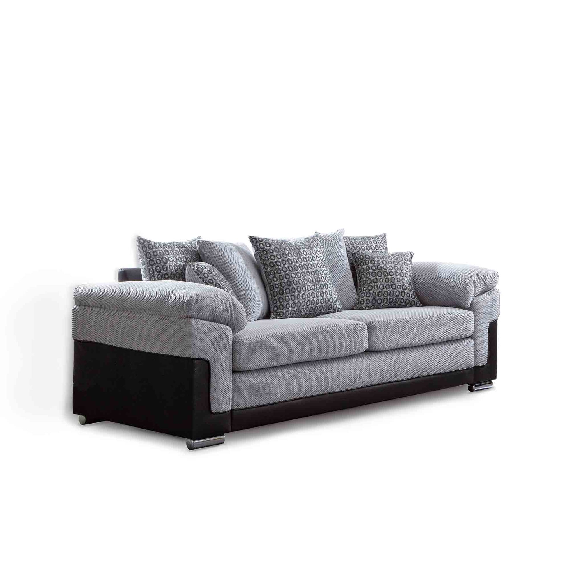 Ameba Silver 3 Seater Fabric & Faux Leather Sofa from Roseland Furniture