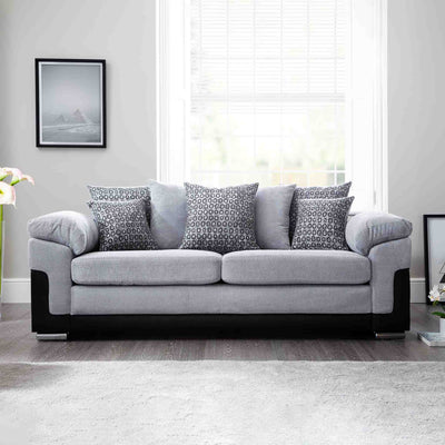 front view Ameba Silver 3 Seater Fabric & Faux Leather Couch lifestyle image