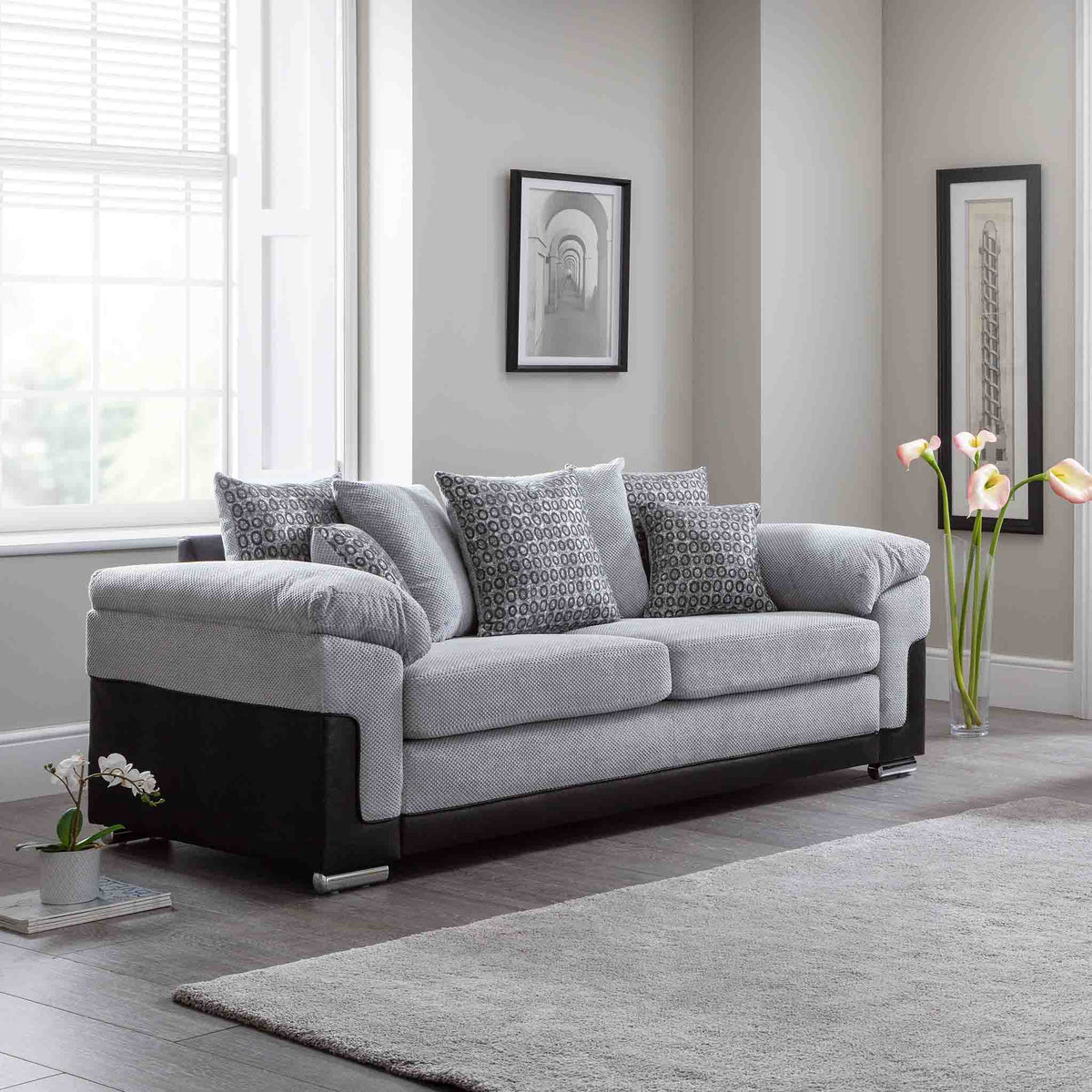 Ameba Silver 3 Seater Fabric & Faux Leather Sofa lifestyle image