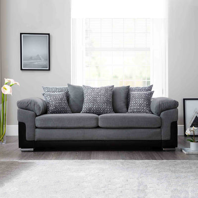 front view of the Ameba Charcoal 3 Seater Fabric & Faux Leather Couch from Roseland Furniture
