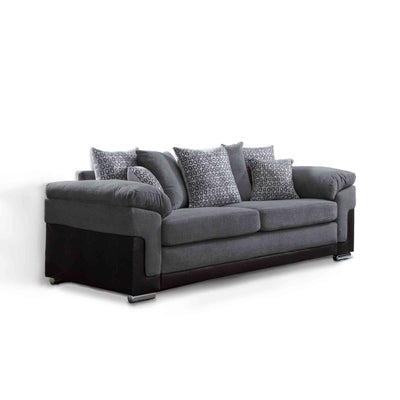 Ameba Charcoal 3 Seater Fabric & Faux Leather Sofa from Roseland Furniture