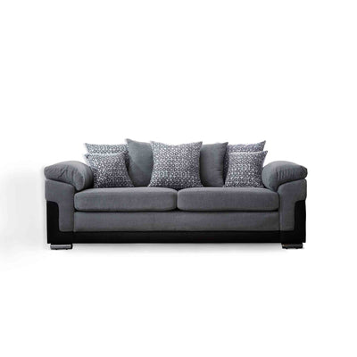 front view of the Ameba Charcoal 3 Seater Fabric & Faux Leather Settee