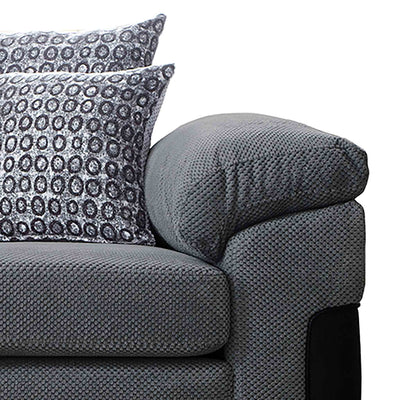 close up of the plump cushioned armrests on the Ameba Charcoal Fabric & Faux Leather Corner Chaise Sofa