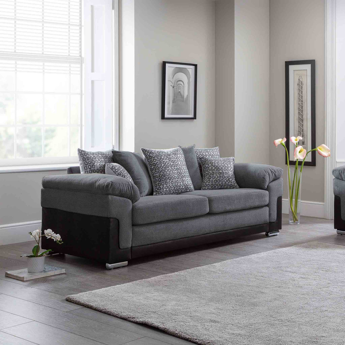 Ameba Charcoal 3 Seater Fabric & Faux Leather Sofa lifestyle image