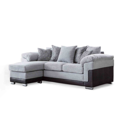 Ameba Silver  Reversible Corner Chaise Sofa by Roseland Furniture