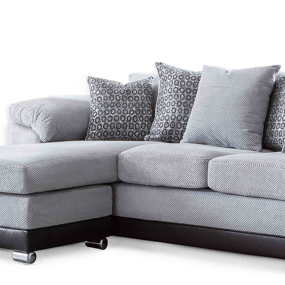 Ameba Silver  Reversible Corner Chaise Sofa - Close up of chaise end of sofa