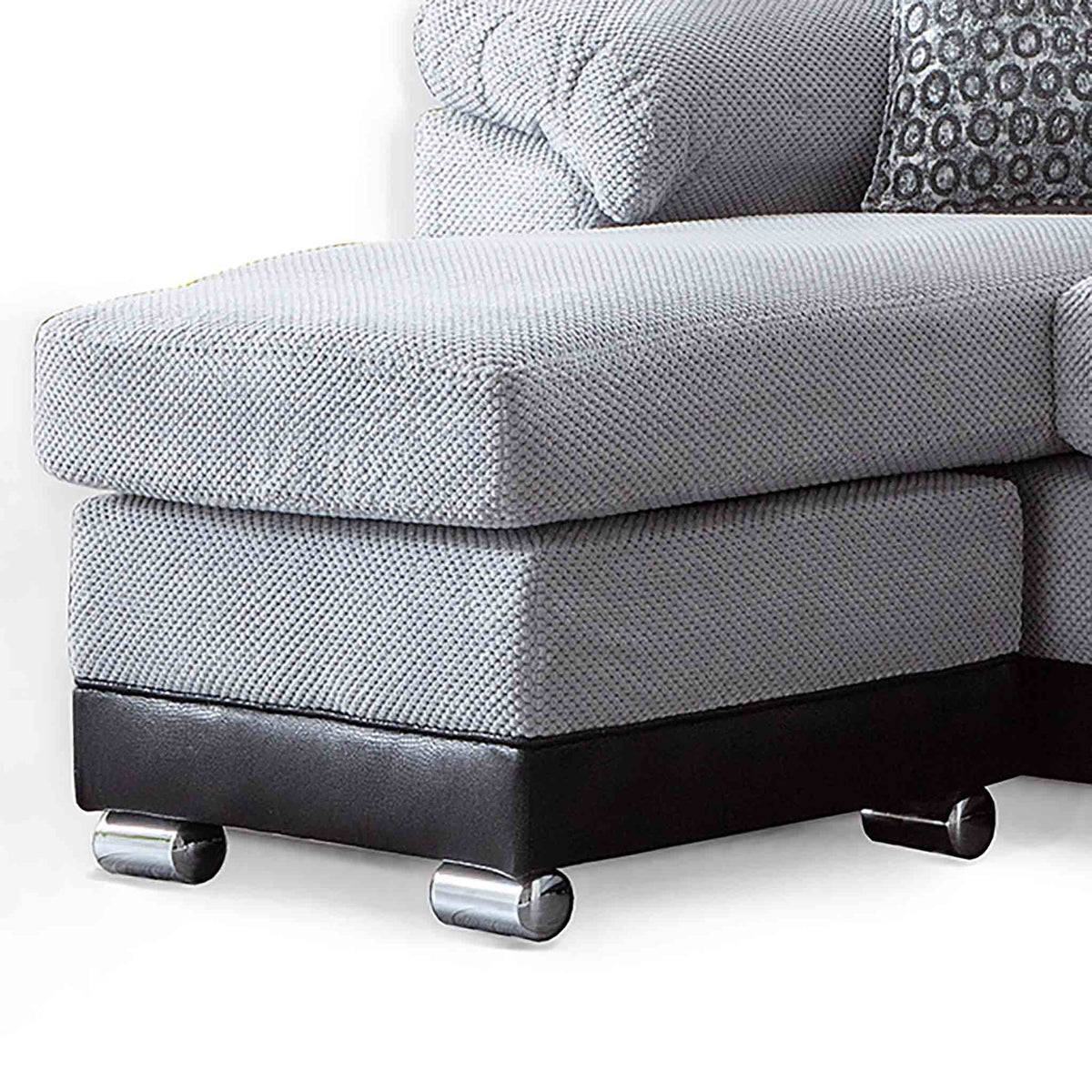 Ameba Silver  Reversible Corner Chaise Sofa - Close up of chaise section
