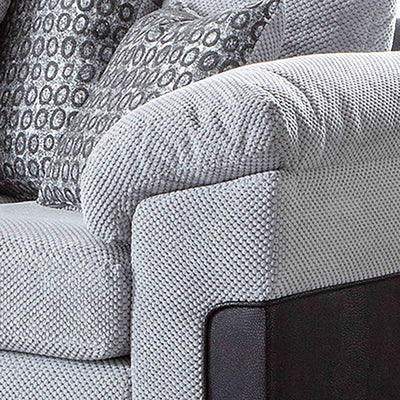 Ameba Silver  Reversible Corner Chaise Sofa - Close up of arm rest of sofa