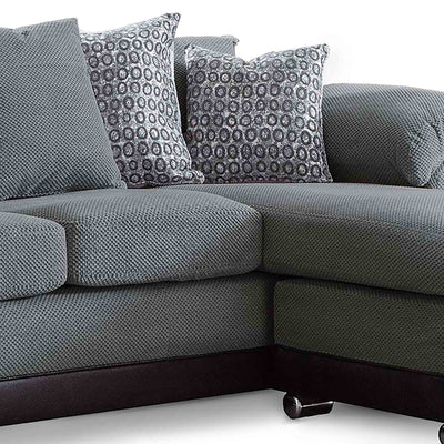 Ameba Charcoal Reversible Corner Chaise Sofa - Close up of chaise cushion