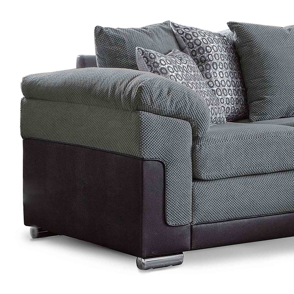 Ameba Charcoal Reversible Corner Chaise Sofa - Close up of side
