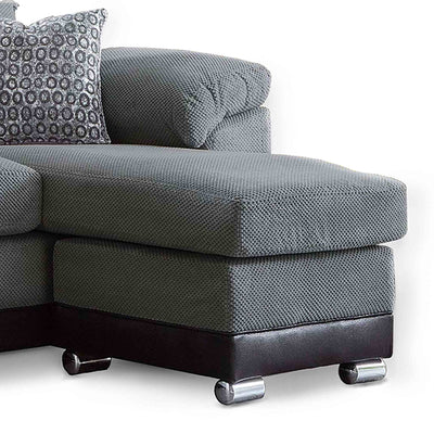 Ameba Charcoal Reversible Corner Chaise Sofa  - Close up of chaise section