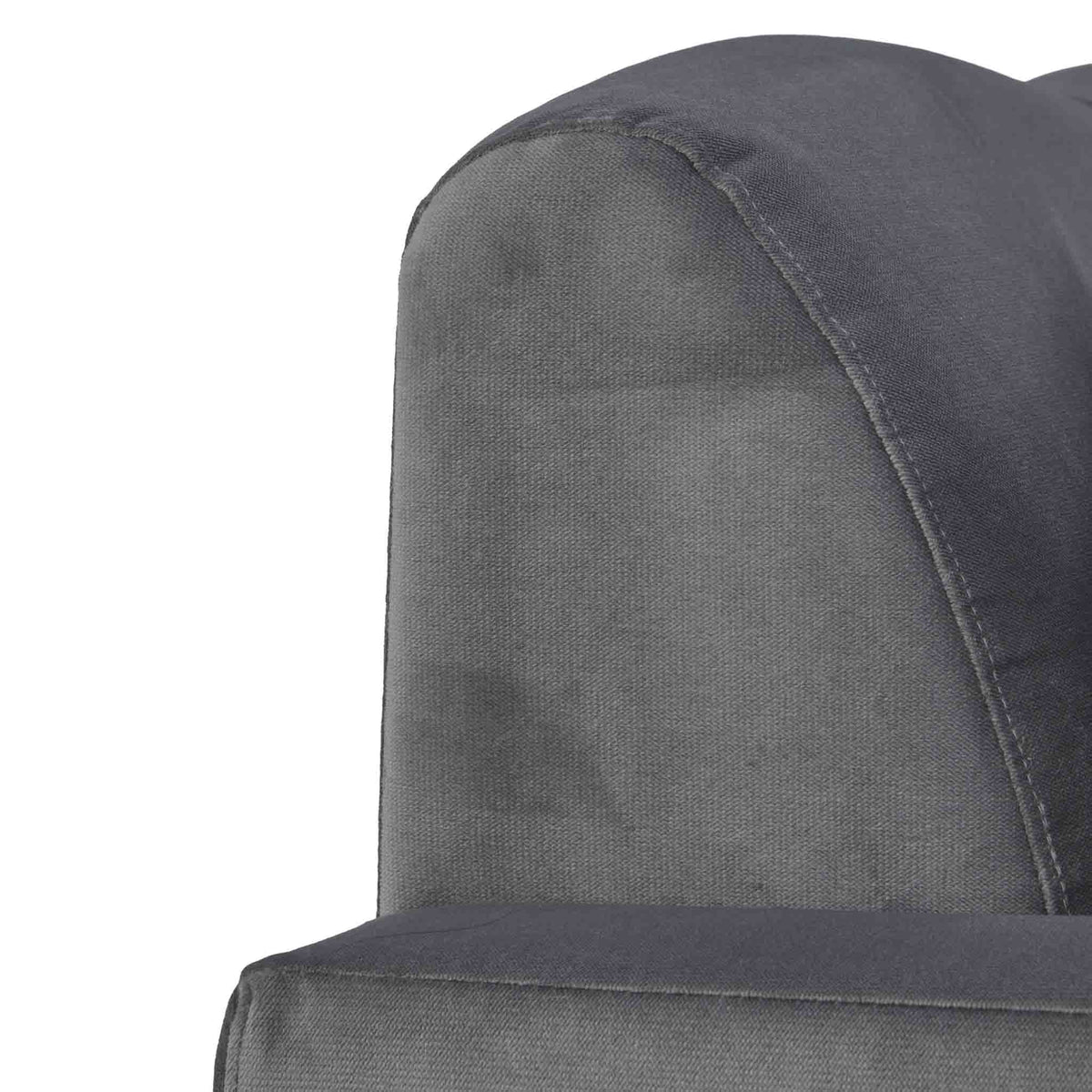 close up of tight back on the Piper Grey Velvet Corner Chaise Sofa from Roseland Furniture