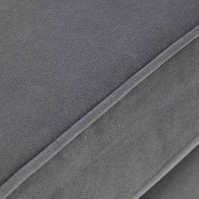 close up of the piped cushions on the Piper Grey 2 Seater Sofa from Roseland Furniture