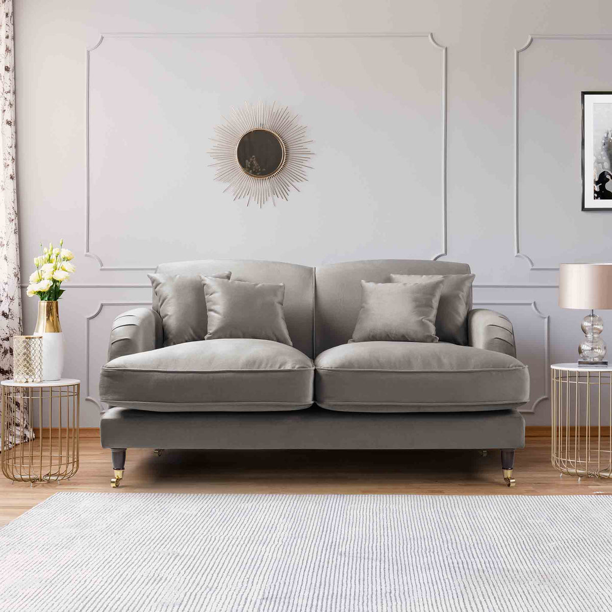 Piper Grey Velvet 2 Seater Sofa lifestyle image