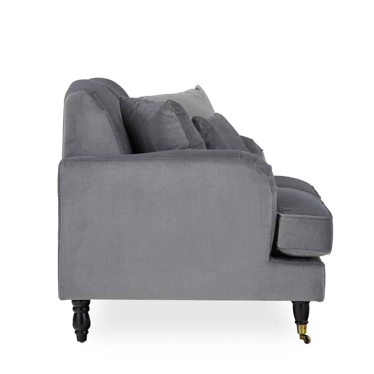 side view of the Piper Grey 2 Seater Sofa from Roseland Furniture