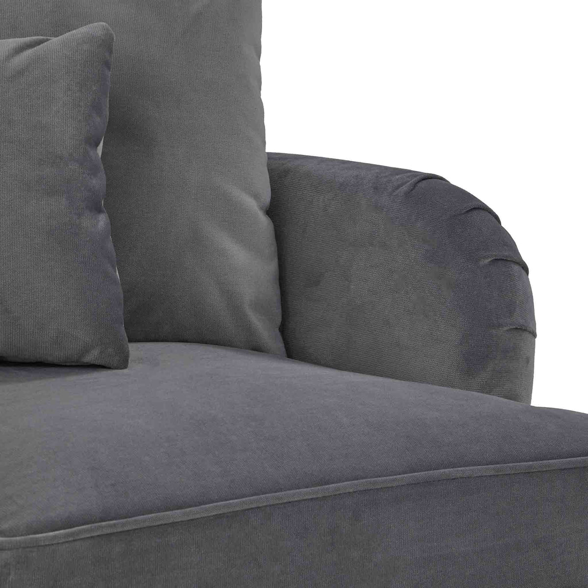 close up of the seat cushions on the Piper Grey Velvet Corner Chaise Sofa from Roseland Furniture
