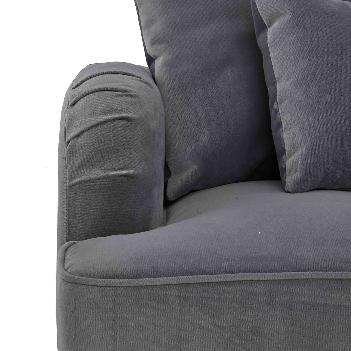 close up of the English rolled arms on the Piper Grey Velvet Corner Chaise Sofa from Roseland Furniture