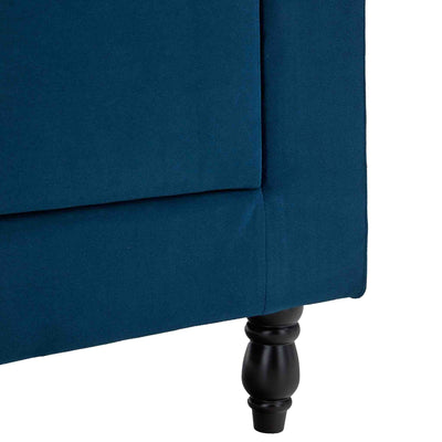 close up of the rear legs on the Piper Peacock Velvet Corner Chaise Sofa from Roseland Furniture