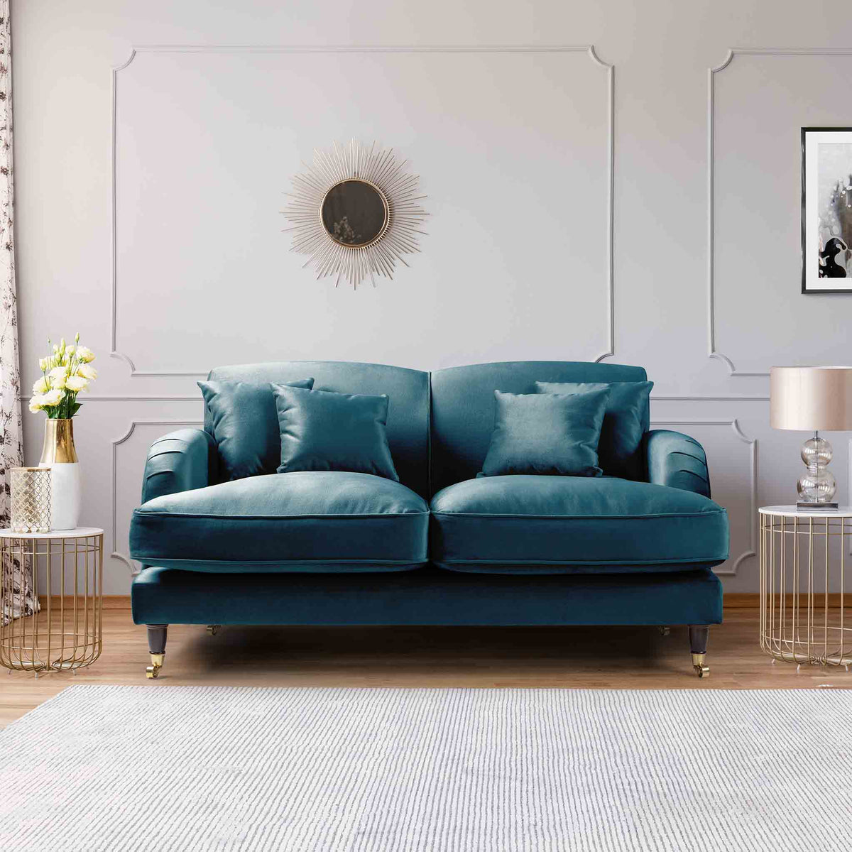 Piper Peacock Velvet 2 Seater Sofa lifestyle image
