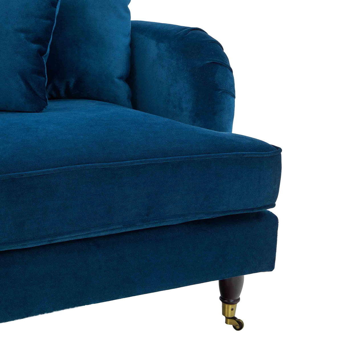 close up of seat cushion on the Piper Peacock 2 Seater Sofa from Roseland Furniture