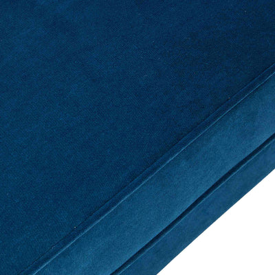 close up of the piping details on the Piper Peacock Velvet Corner Chaise Sofa from Roseland Furniture