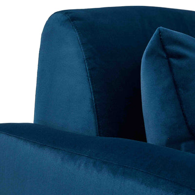 close up of the tight back on the Piper Peacock Velvet Corner Chaise Sofa from Roseland Furniture