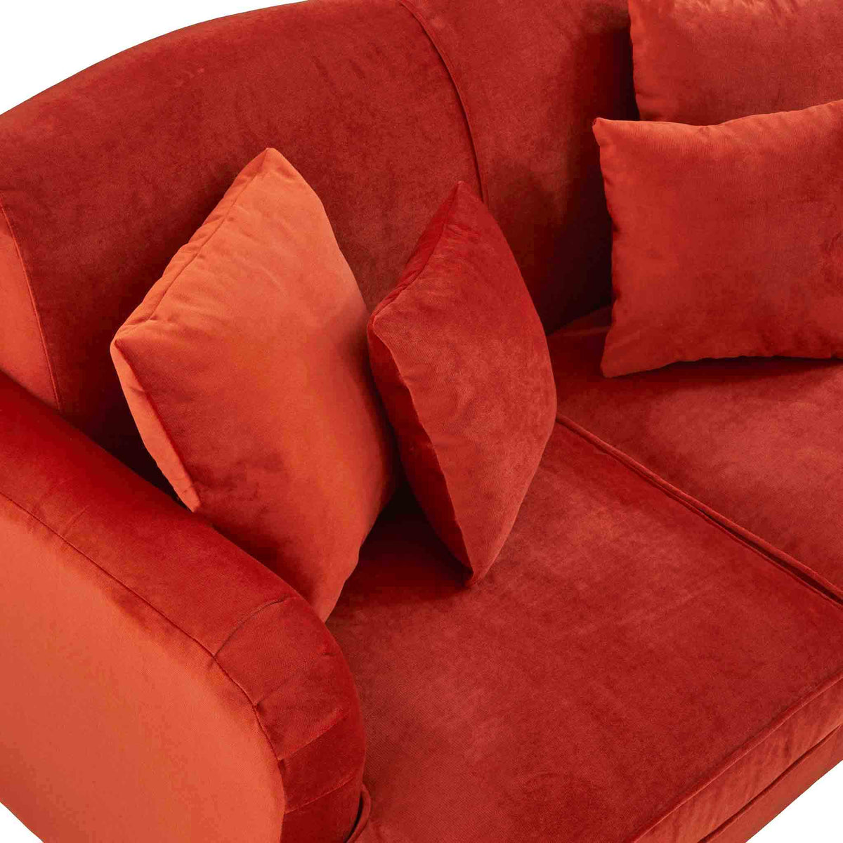top view of the Piper Apricot Velvet Corner Chaise Sofa from Roseland Furniture