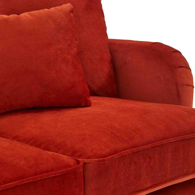 close up of the seat cushions on the Piper Apricot Velvet Corner Chaise Sofa from Roseland Furniture