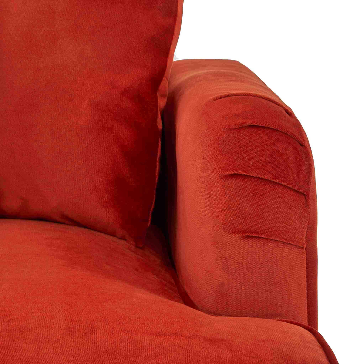 close up of the English rolled arms on the Piper Apricot Velvet Corner Chaise Sofa from Roseland Furniture