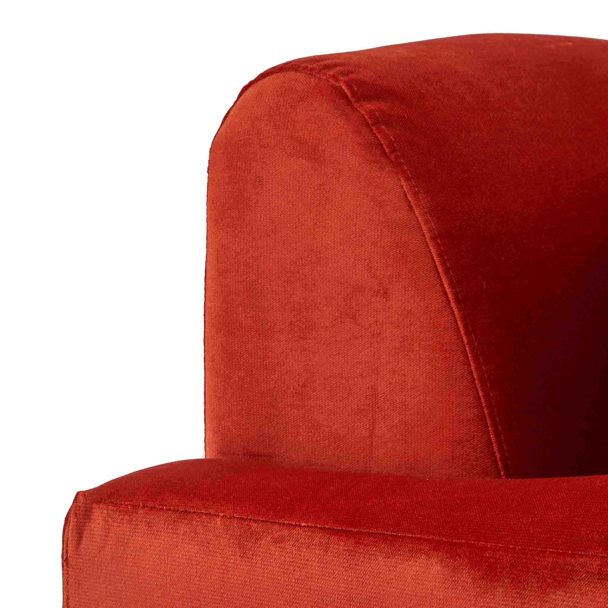 close up of the tight back on the Piper Apricot Velvet Corner Chaise Sofa from Roseland Furniture