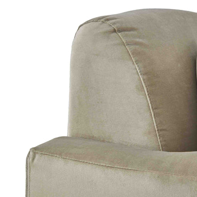 close up of tight back on the Piper Putty Velvet Corner Chaise Sofa from Roseland Furniture
