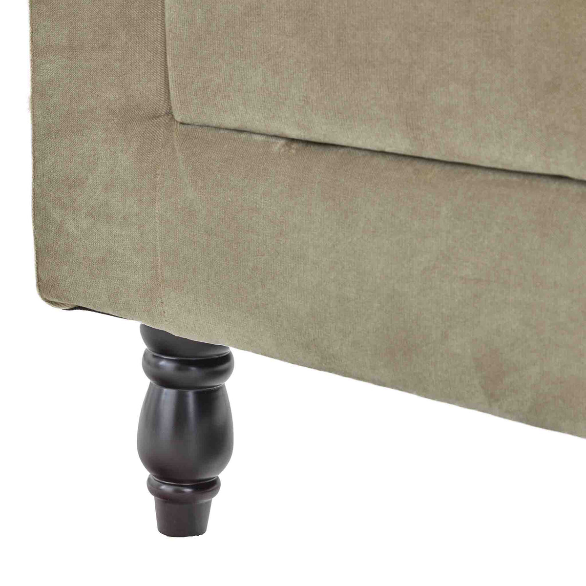 close up of the rear legs on the Piper Putty Velvet 2 Seater Sofa from Roseland Furniture