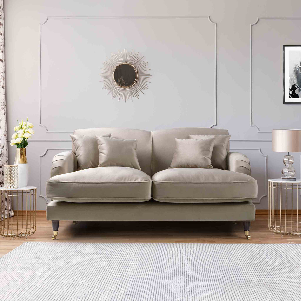 Piper Putty Velvet 2 Seater Sofa lifestyle image