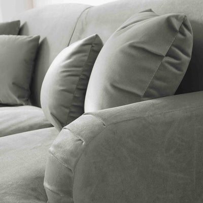 close up of the English roll arms on the Piper Putty Velvet 2 Seater Sofa