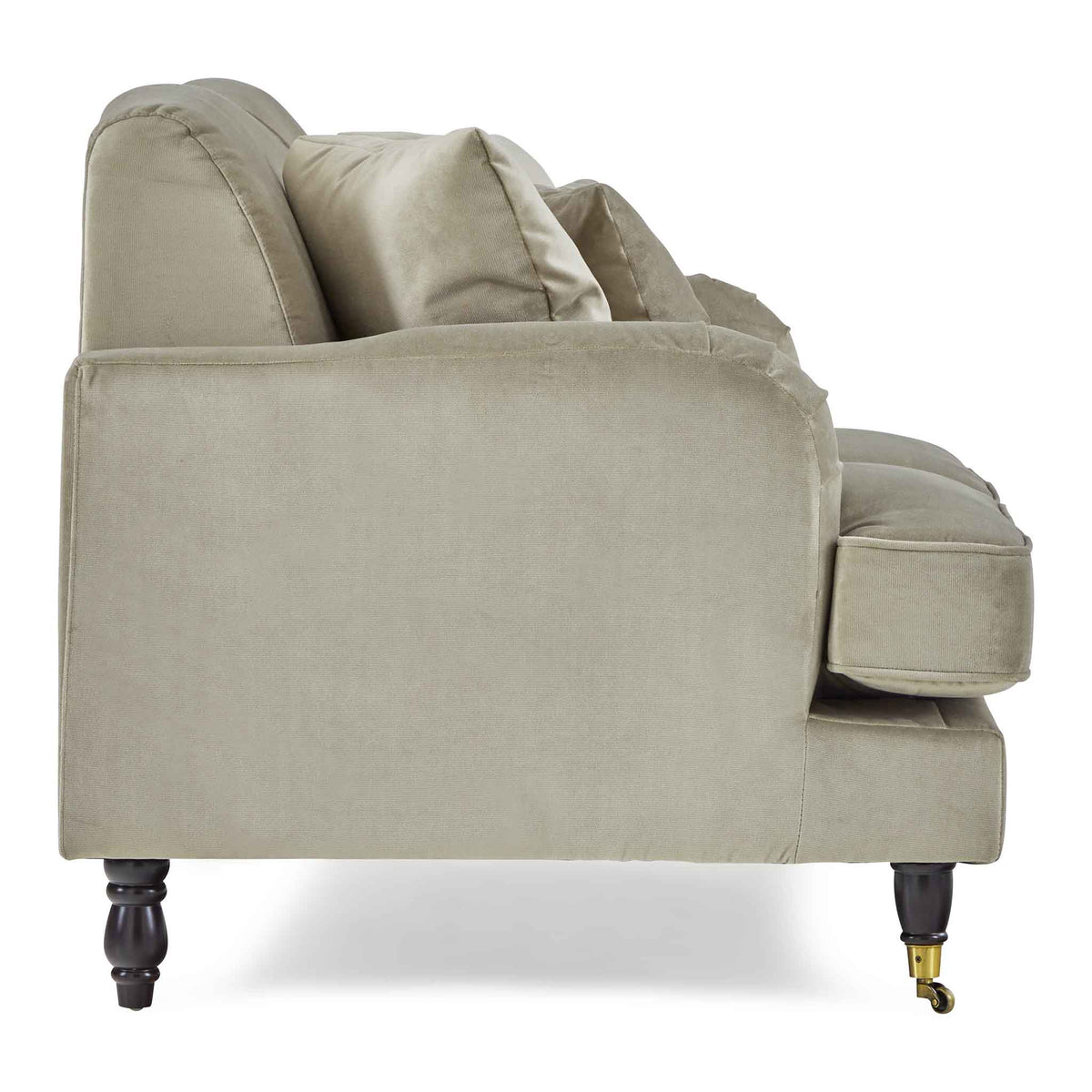 side view of the Piper Putty Velvet 2 Seater Sofa from Roseland Furniture