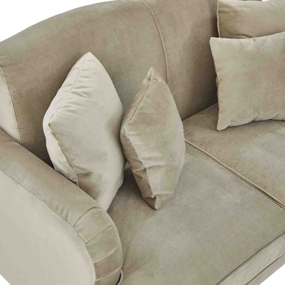 top view of the Piper Putty Velvet 2 Seater Sofa from Roseland Furniture