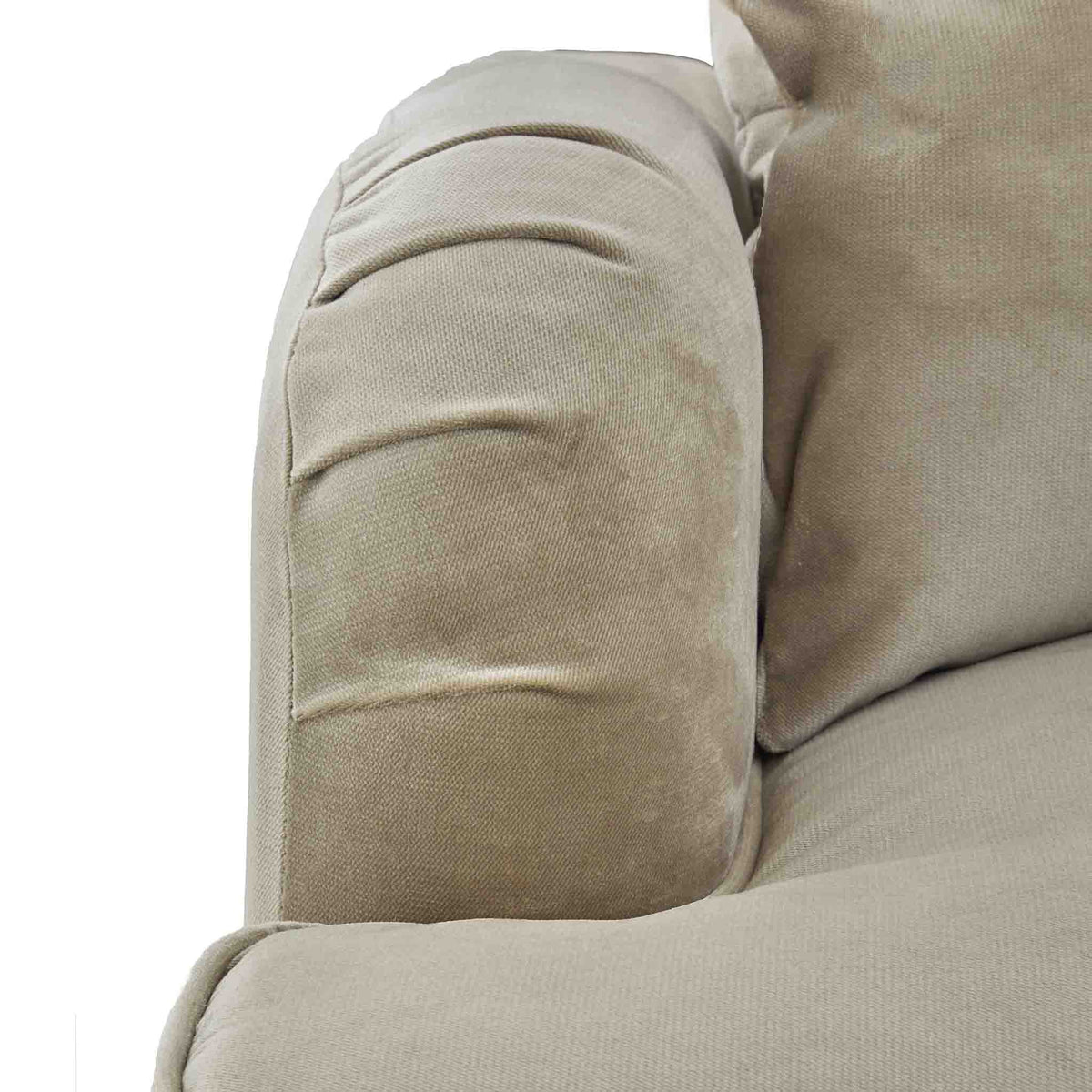 close up of the English rolled arms on the Piper Putty Velvet Corner Chaise Sofa from Roseland Furniture