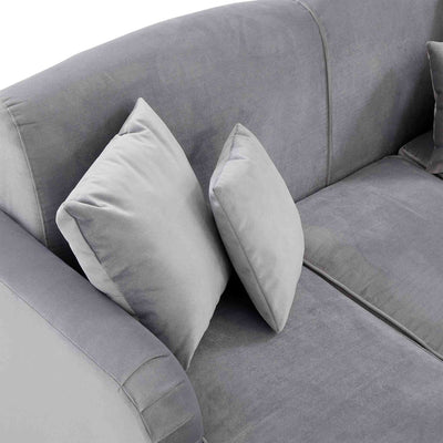top view of the Piper Grey Velvet Corner Chaise Sofa from Roseland Furniture
