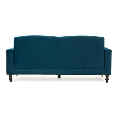 back view of the Piper Peacock Velvet Corner Chaise Sofa from Roseland Furniture