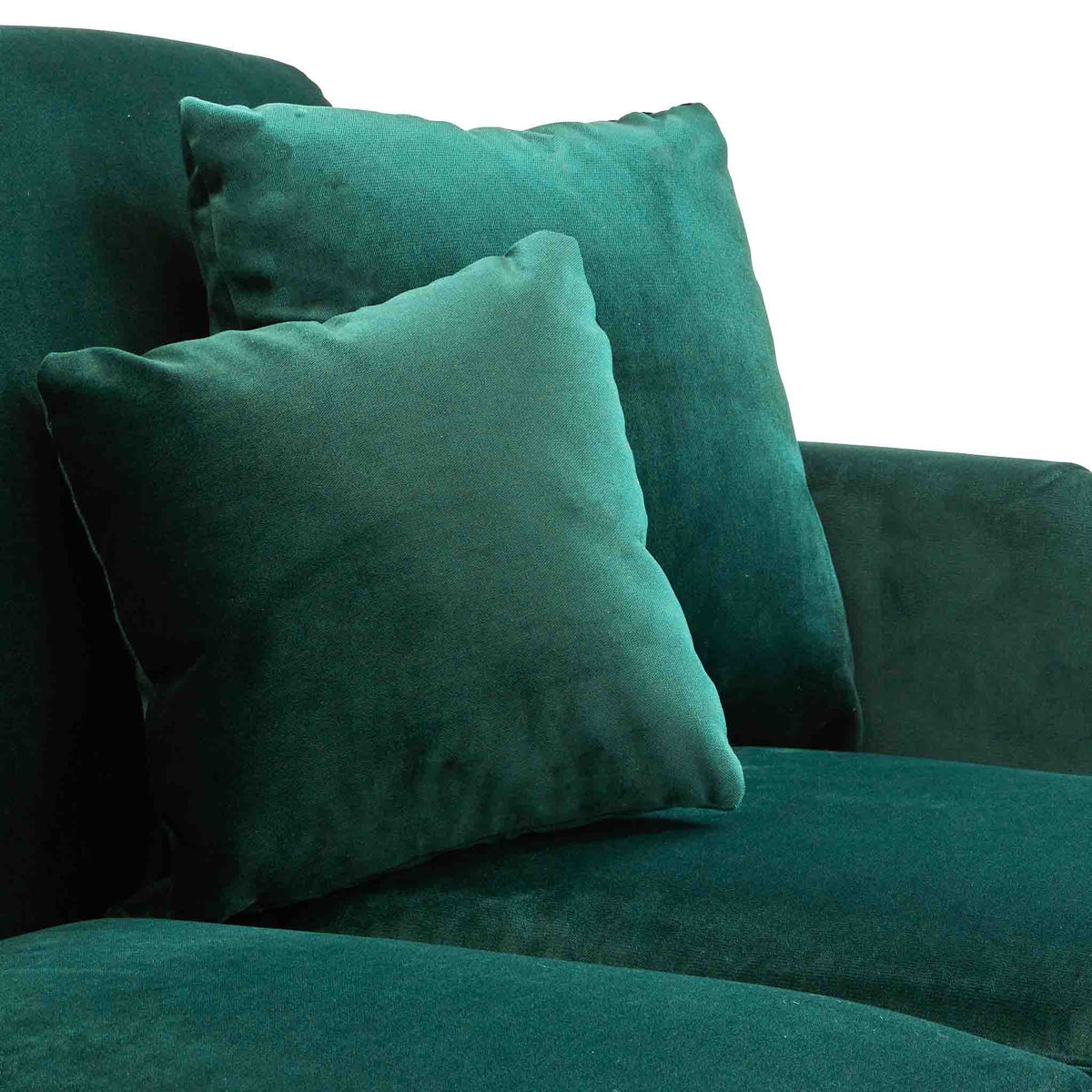 close up of the loose cushions on the Piper Jasper Velvet Corner Chaise Sofa from Roseland Furniture