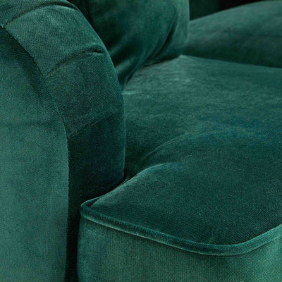 close up of the seat cushion on the Piper Jasper Velvet Corner Chaise Sofa from Roseland Furniture